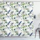 """Ambesonne Flower Shower Curtain, Floral Pattern with Pea Blossoms in Watercolor Paint Effect Spring Theme, Cloth Fabric Bathroom Decor Set with Hooks, 70"""" Long, Green White"""