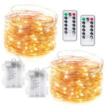 Fairy String Lights Battery Operated, 2 Pack 33Ft 100 LED String Lights with Remote Timer 8 Lighting Modes, Waterproof Copper String Lights for Indoor Outdoor Party Decor, Warm White