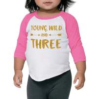 Girl Third Birthday Shirt Pink and Gold Birthday Girl Raglan (4T)