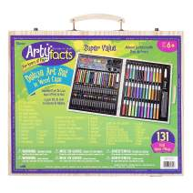 Darice (1103-10) 131-Piece Premium Art Set – Art Supplies for Drawing, Painting and More in a Wood Case - Makes a Great Gift for Children and Adults