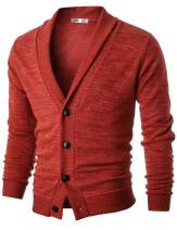 OHOO Mens Slim Fit Shawl Collar Lightweight Knit Cardigan with Elbow Patch