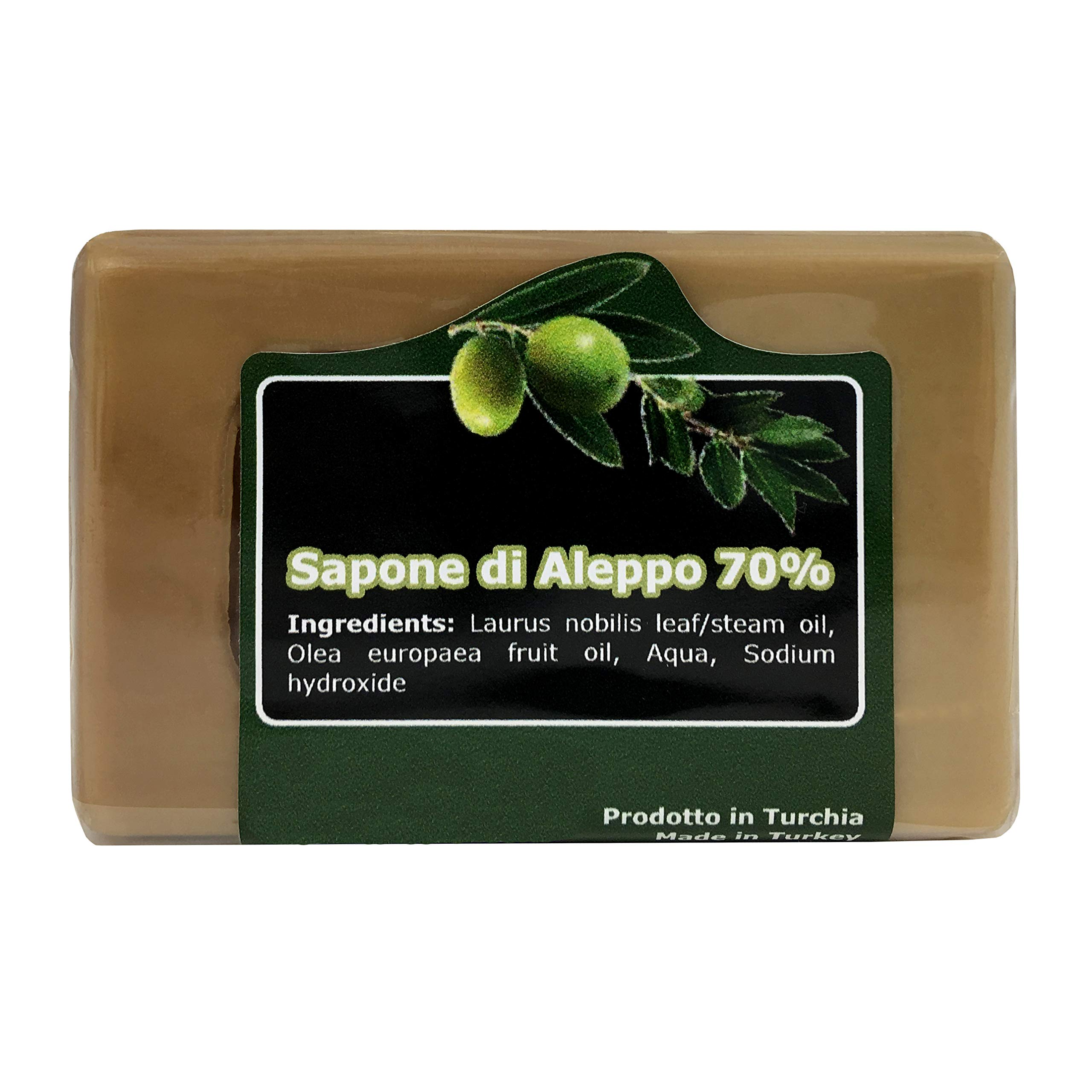 Natural Aleppo Soap Bar - with Olive Oil and 70% of Laurel Oil – Original Recipe - Handmade, Traditional and Organic Soap - Suitable for Sensitive Skins - Ideal as Body Soap and Shampoo