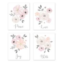 Sweet Jojo Designs Blush Pink, Grey and White Love Peace Joy Bliss Wall Art Prints Room Decor for Baby, Nursery, and Kids for Watercolor Floral Collection - Set of 4