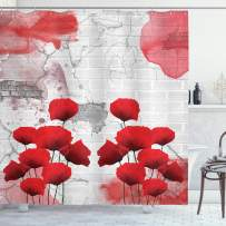 """Ambesonne Poppy Flower Shower Curtain, Flourishing Rural Field Vibrant Blooms on Weathered Brick Wall Backdrop, Cloth Fabric Bathroom Decor Set with Hooks, 84"""" Long Extra, Gray Red"""