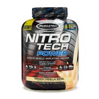 MuscleTech Nitro Tech Power Whey Protein Powder Musclebuilding Formula, French Vanilla Swirl, 4 Pounds