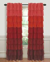 """Dainty Home Flamenco Layers of Ruffles Pleated Rod Pocket with Header Window Curtain Panel, 55"""" Extra Wide x 84'' Long, Ombre Red to Burgundy"""