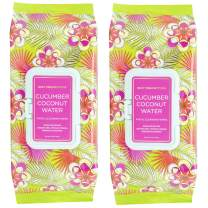 Body Prescriptions Cucumber Coconut Water Face Wipes & Makeup Remover Wipes - 2 Pack (60 Count Each) of Gentle Facial Cleansing Wipes – Flip Top Pack