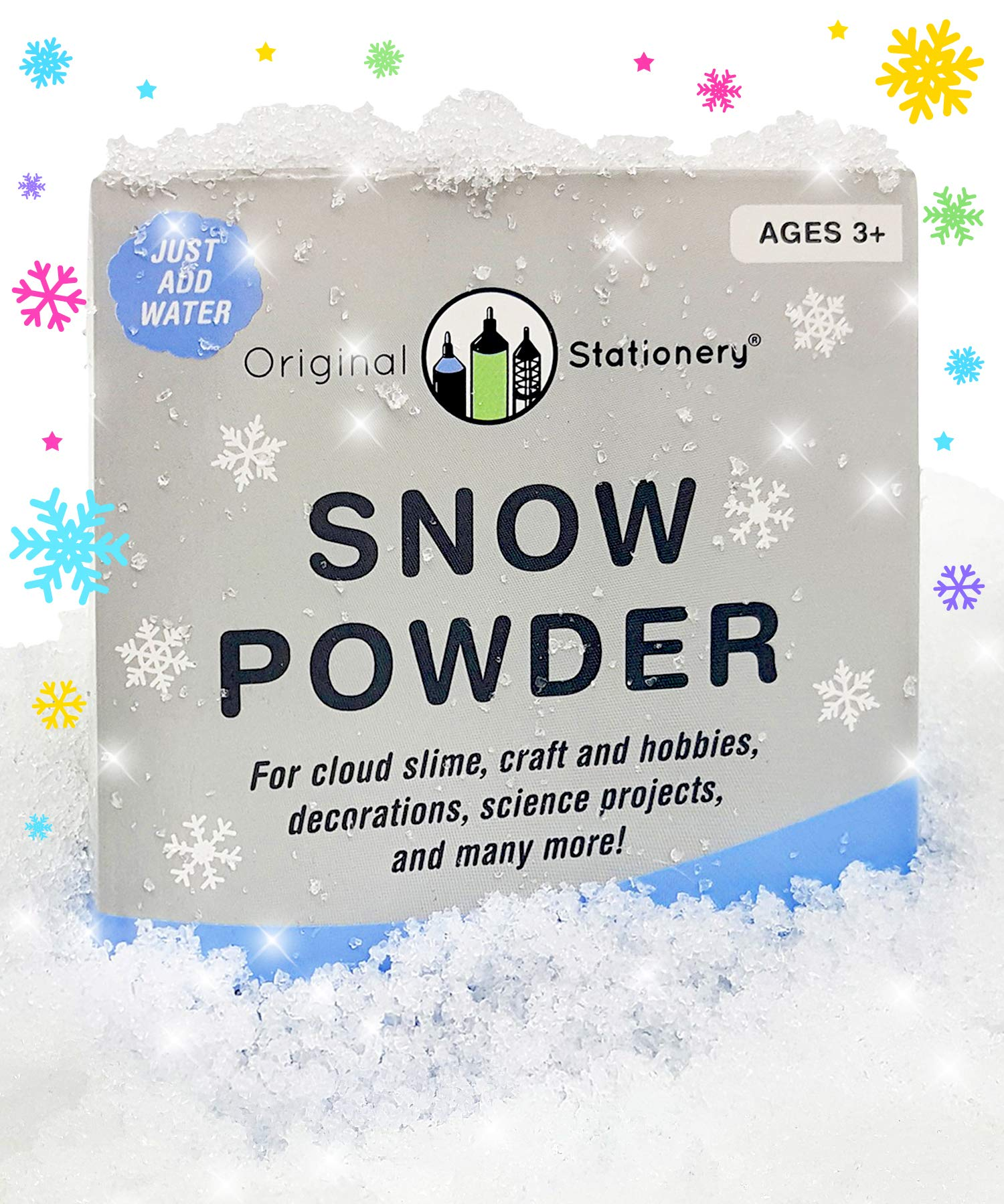 Original Stationery Product Name Instant Snow Powder [2 gallons] Creates Slushie Fake Snow. Use with Slime, Daiso Clay and Floam Beads to Make Cloud Slime - Artificial Snow Decoration