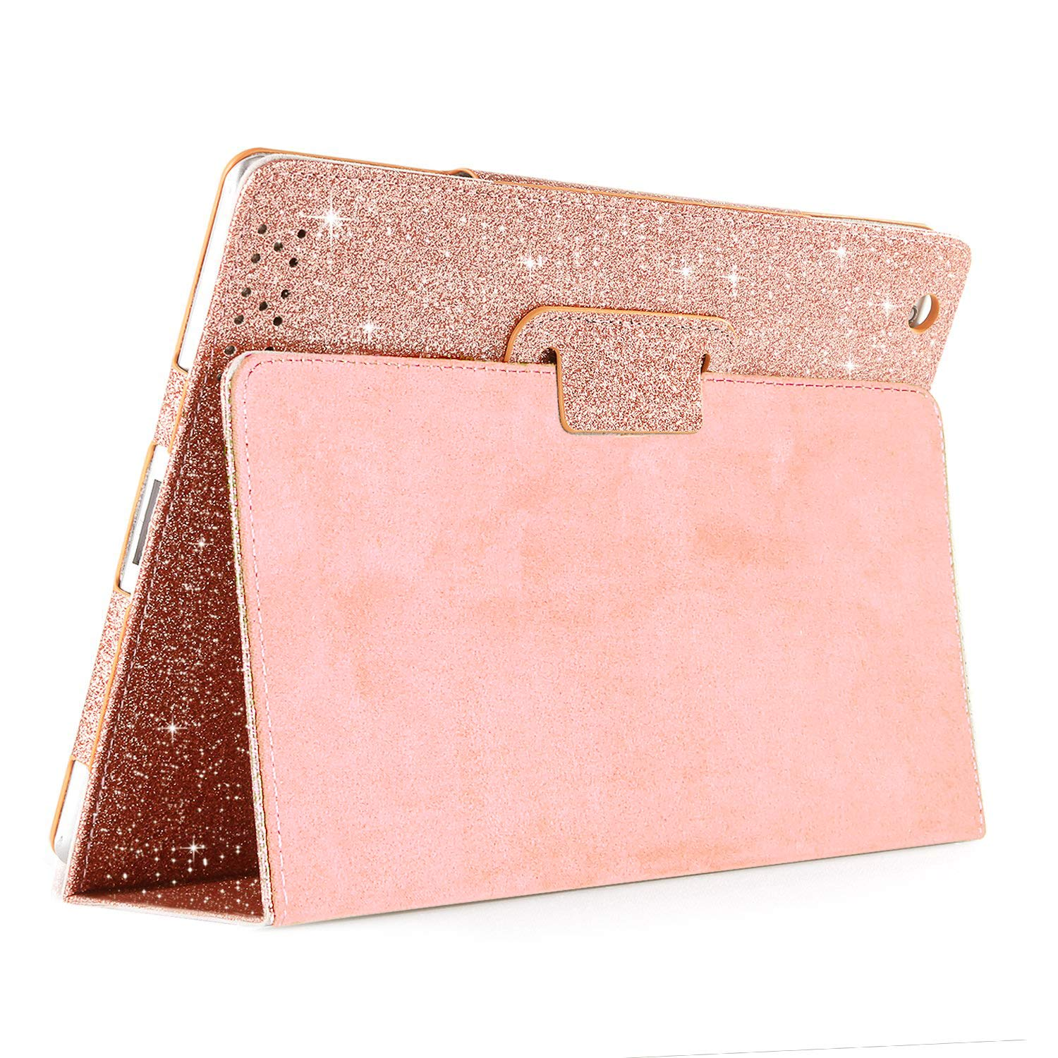 iPad 2 3 4 Glitter Case,FANSONG Sparkle Bling PU Leather [Flip Stand Function] [Auto Sleep/Wake] Shockproof Smart Cover Case for Apple iPad 2/3/4