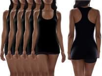 Sexy Basics Women's 5 Pack Flat Knit Jersey Flex Racer Back Tank Tops/Cotton -Spandex Stretch Color Tank Tops