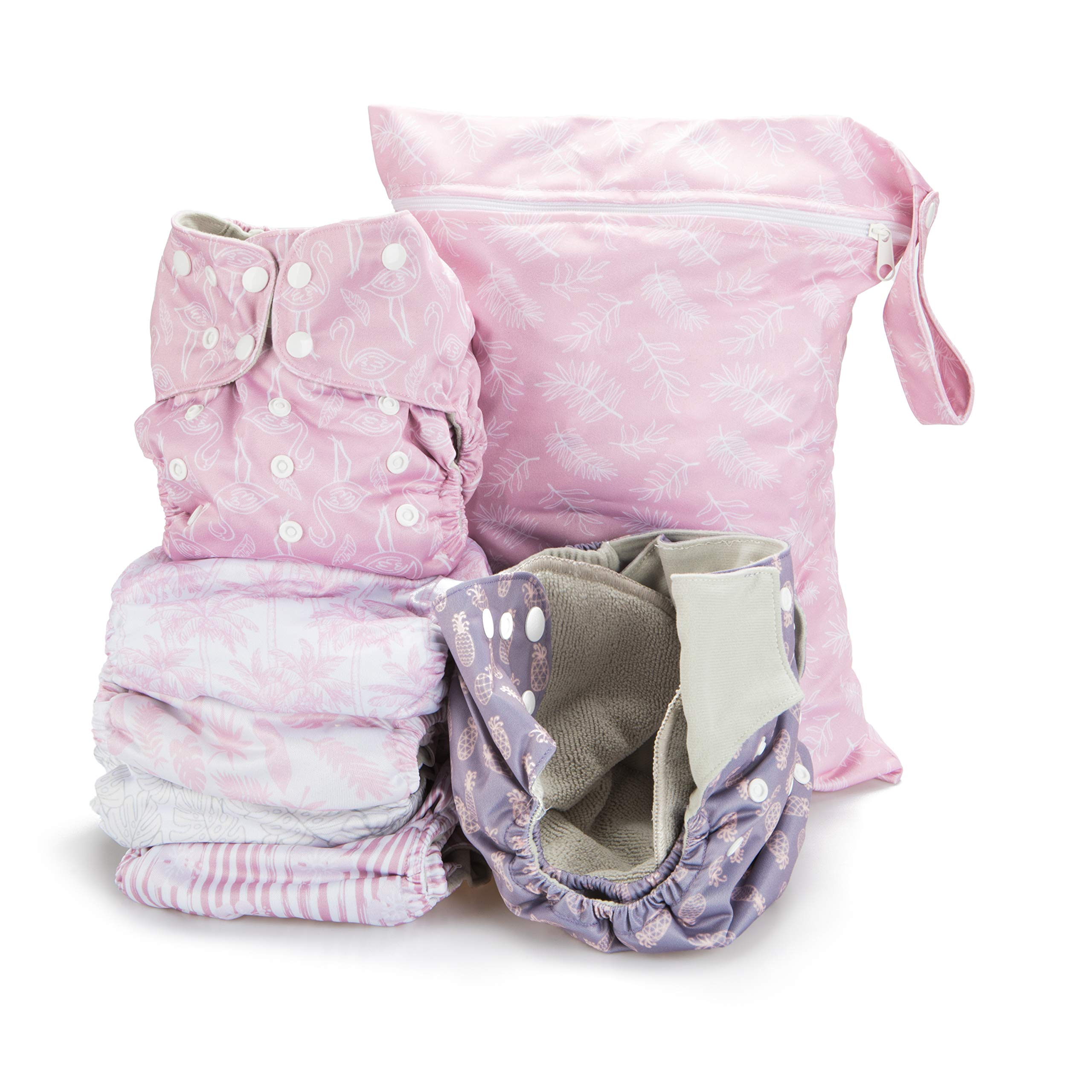 Simple Being Reusable Cloth Diapers- Double Gusset-6 Pack Pocket Adjustable Size-Waterproof Cover-6 Inserts-Wet Bag (Tropical)