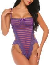 Avidlove Womens Adjustable Bodysuit One Piece Lace Lingerie Teddy Snap on Babydoll