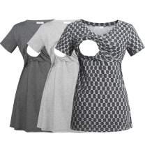 YIWOZA Womens V Neck Nursing Tops Maternity Breastfeeding Tee Shirts YWZ028