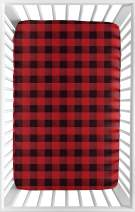 Sweet Jojo Designs Woodland Buffalo Plaid Boy Fitted Mini Crib Sheet Baby Nursery for Portable Crib or Pack and Play - Red and Black Rustic Country Lumberjack