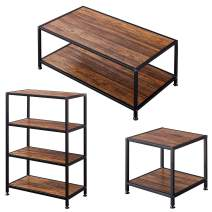 GreenForest Coffee Table& End Table and 4-Tier Bookshelf Bundle Industrial Style 3 Pieces Living Room Furniture Set with Extra Storage, Easy Assembly, Walnut