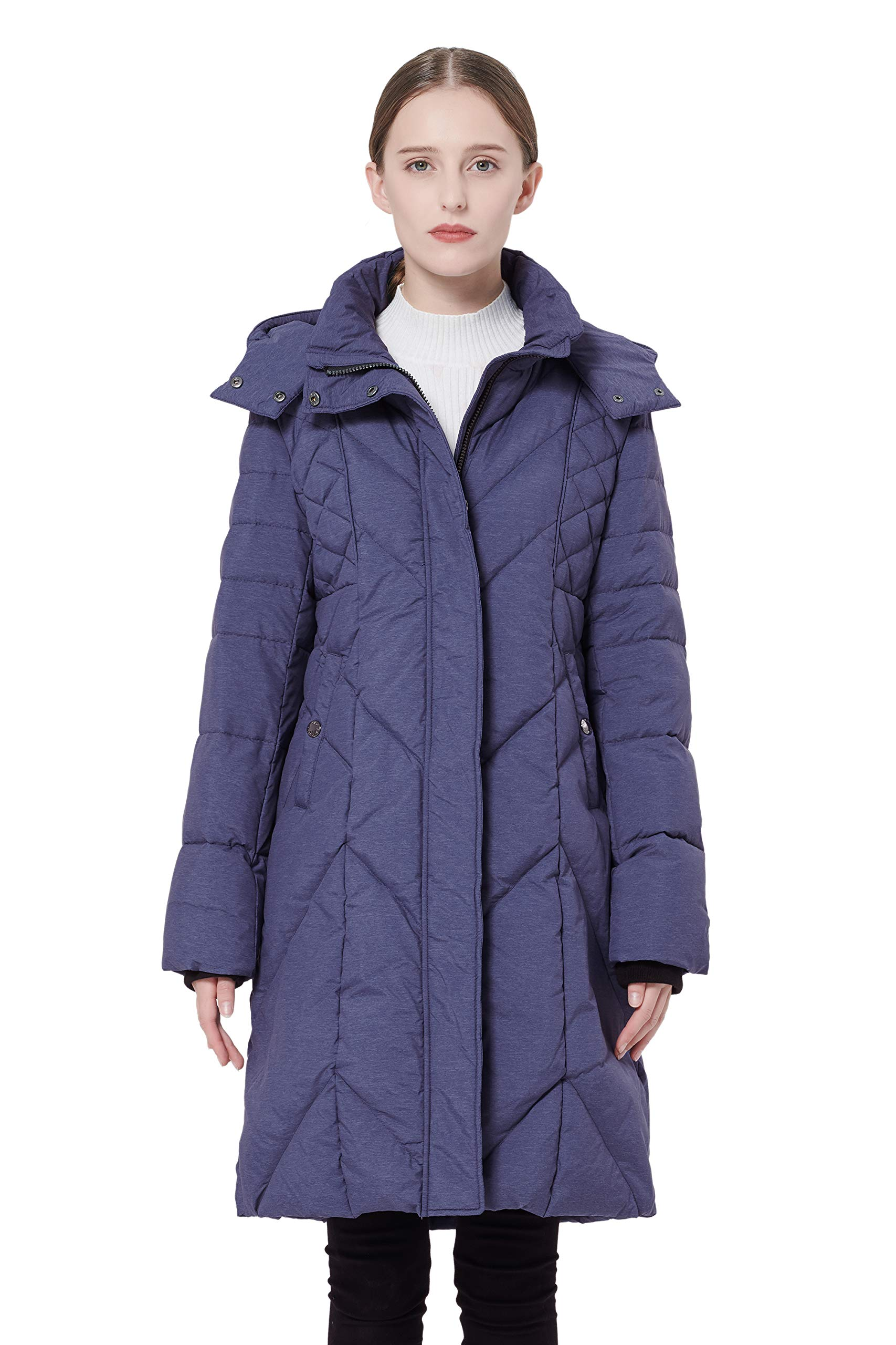 Orolay Women's Thickened Down Jacket with Hood Darkgrey