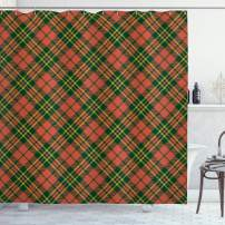 "Ambesonne Checkered Shower Curtain, Irish Tartan Plaid Motifs in Christmas Colors Geometrical Stripes, Cloth Fabric Bathroom Decor Set with Hooks, 70"" Long, Emerald Vermilion"