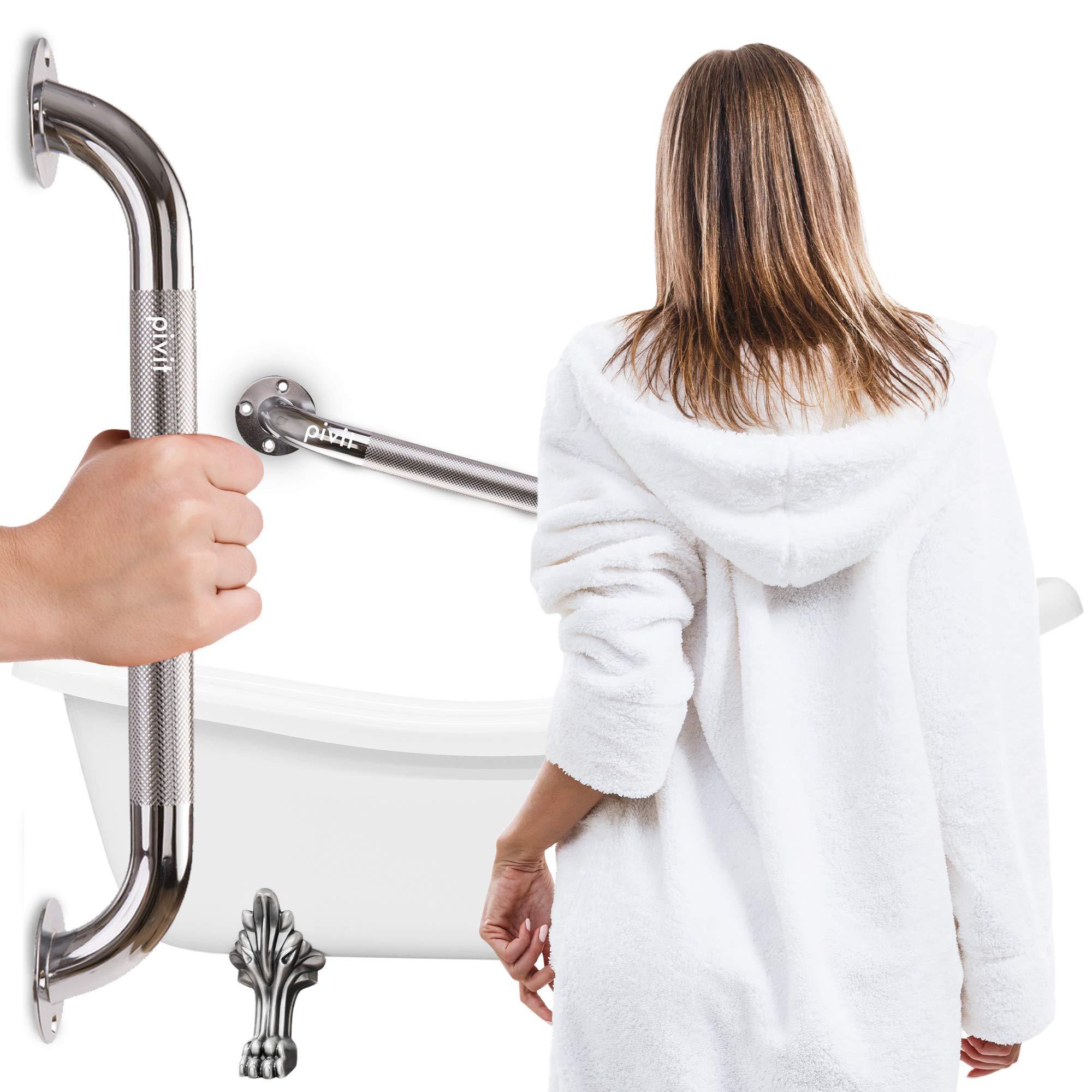 "Pivit Knurled Chrome Steel Shower Handle & Bathroom Balance Grab Bar | 18"" | Textured Sturdy & Secure Comfortable Non Slip Grip | for Elderly, Seniors, Handicap & Disabled | Lifetime Limited Warranty"