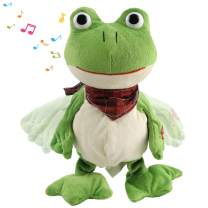 Houwsbaby Croaking Frog Musical Stuffed Animal Frolick Meadow Froggy Shaking and Waving Electronic Interactive Animate Plush Toy Holiday Birthday, 12'' (Green)