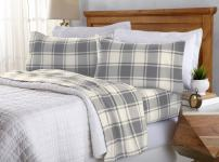 Great Bay Home Super Soft Extra Plush Plaid Fleece Sheet Set. Cozy, Warm, Durable, Smooth, Breathable Winter Sheets with Plaid Pattern. Dara Collection Brand. (Full, Grey)