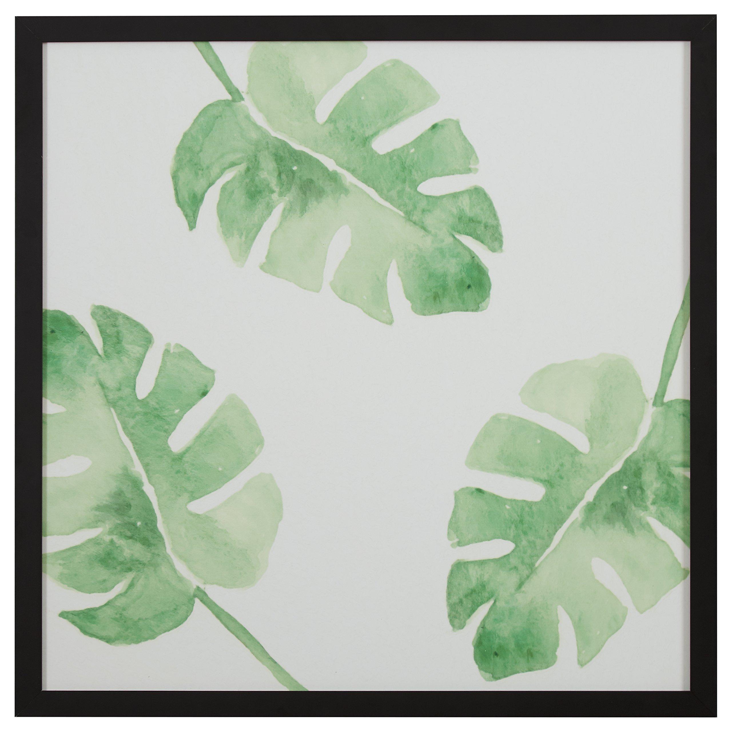 "Rivet Watercolor Green Leaf Print Wall Art in a Black Wood Frame,  30"" x 30"""