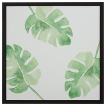 "Rivet Watercolor Green Leaf Print Wall Art in a Black Wood Frame,  30"" x 30"""