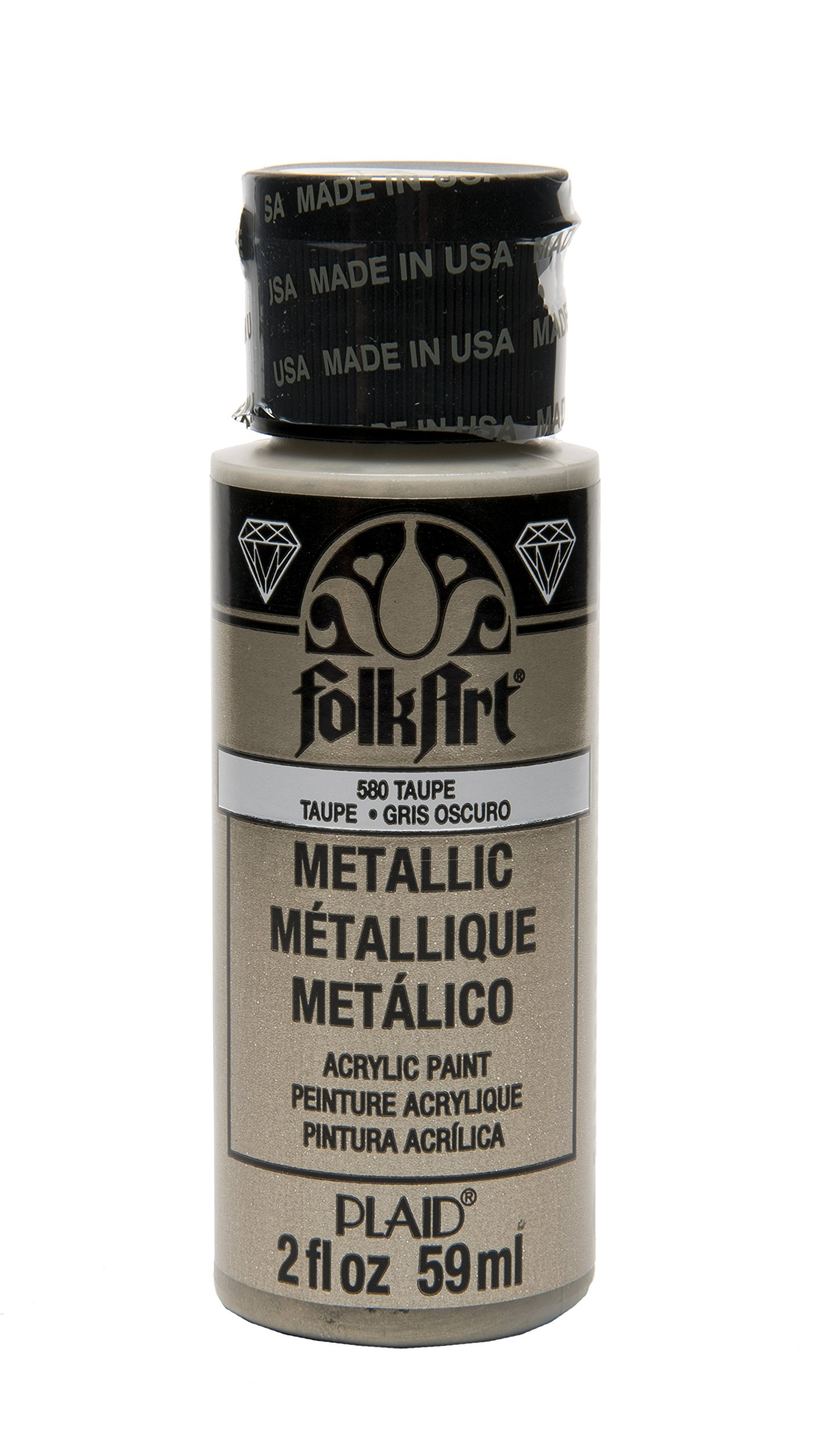 FolkArt Metallic Acrylic Paint in Assorted Colors (2 oz), 580, Taupe