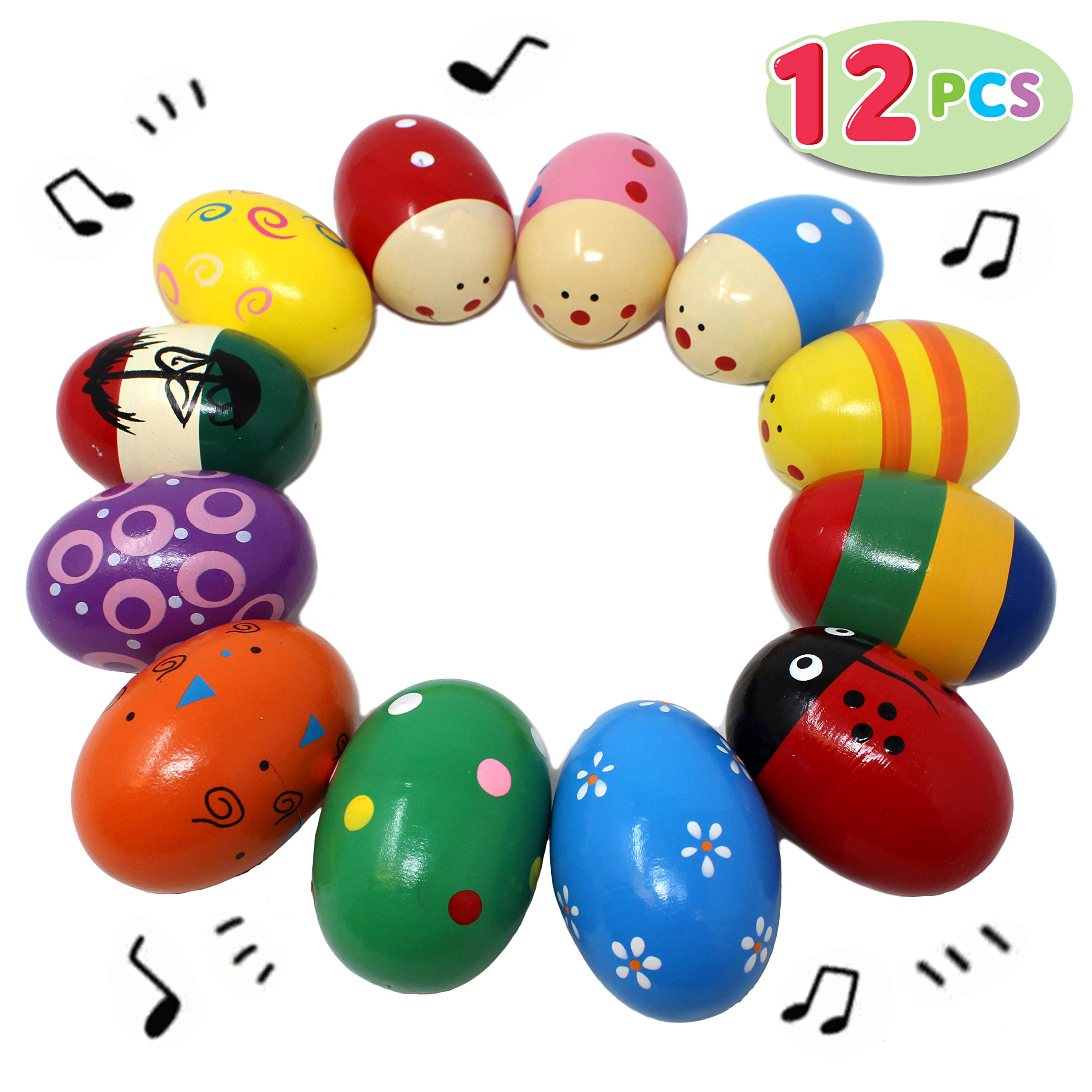 """JOYIN 12 Pieces 3"""" Wooden Egg Shakers Maracas Percussion Musical for Party Favors, Classroom Prize Supplies, Musical Instrument, Basket Stuffers Fillers, Easter Hunt"""
