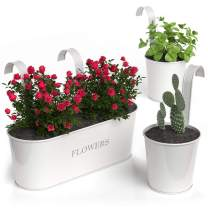 """Barnyard Designs Metal Wall Planter, Indoor Outdoor Hanging Plant Pot Decor, Rustic Herb Flower Plant Holder, White, Large: 11.25"""" x 4.25"""" x 3.75"""", Small: 4.30"""" x 4"""", Set of 3"""