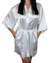 Women's Satin Kimono Bridesmaid Short Robe with Pockets - Silky Feel Modern Cut