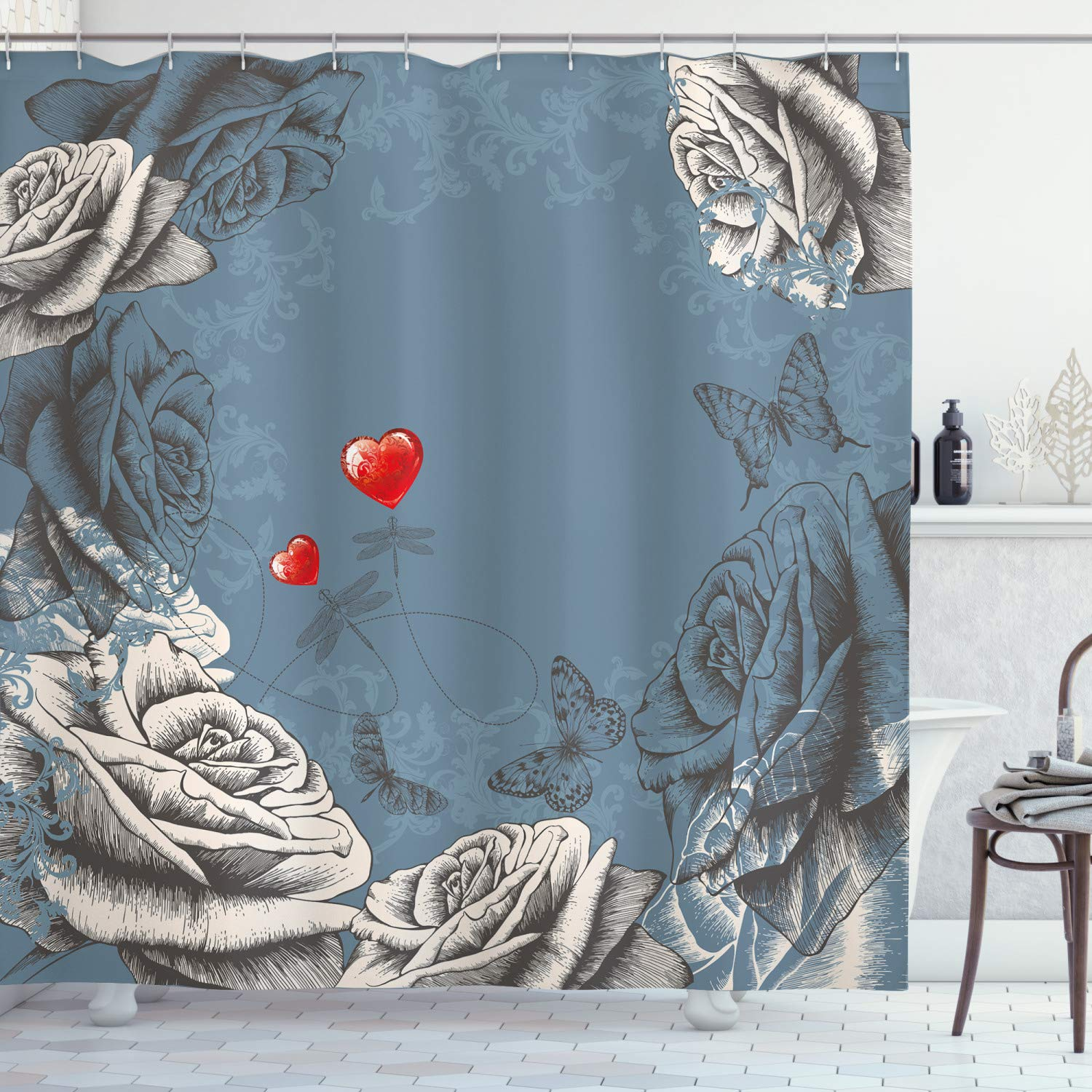 """Ambesonne Floral Shower Curtain, Grunge Rose Petals and Butterflies Red Hearts Love Valentines Vintage Design, Cloth Fabric Bathroom Decor Set with Hooks, 70"""" Long, Grey Blue"""