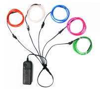 El Wire Lights Neon Light Electroluminescent Wire Battery Operated 3ft for Halloween Christmas Party Decoration 5 Color Blue White Red Green Pink(5 x 1M)