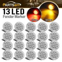 "Partsam 20Pcs 2.5"" Inch Round Trailer Led and Side Marker Lights 13 Diodes Clear Lens w Reflectors Waterproof 12V, 2.5"" Round Led Lights, Cab Panel Sleeper Bar Lights (10Amber+10Red)"
