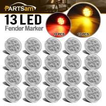 "Partsam 20Pcs 2.5"" Inch Round Trailer Led and Side Marker Lights 13 Diodes Clear Lens w Reflectors Waterproof 12V, 2.5"" Round Led Lights, Cab Panel Sleeper Bar Lights (10Amber+10Red)"