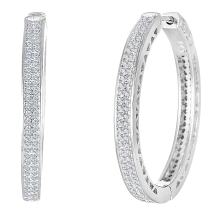 MIA SARINE Rhodium Plated Sterling Silver Pave Set Cubic Zirconia Hoop Earrings for Women