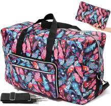 Foldable Travel Duffle Bag for Women Girls Large Cute Floral Weekender Overnight Carry On Bag for Kids Checked Luggage Bag (Feather)