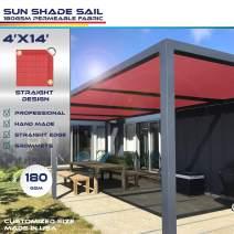 Windscreen4less Straight Edge Sun Shade Sail,Rectangle Outdoor Shade Cloth Pergola Cover UV Block Fabric 180GSM - Custom Size Red 4' X 14'