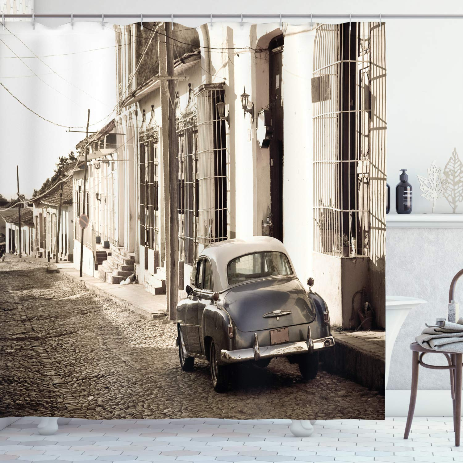 """Ambesonne Vintage Car Shower Curtain, Old AmericCar in The Colonial Streets of Trinidad in Cuba Historical Picture, Cloth Fabric Bathroom Decor Set with Hooks, 84"""" Long Extra, Beige Taupe"""