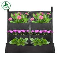 KORAM 8-Pocket Garden Hanging Planter Bag Upgrade Deeper Vertical Hanging Wall Bag Waterproof Vertical Garden Indoor/Outdoor Living Wall Balcony Plant Grow Pouch 8 Pieces of Free Root Wrappers Include