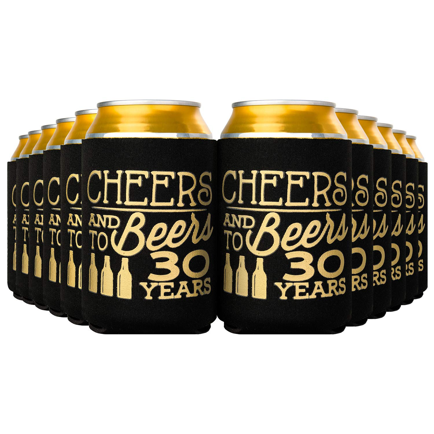 Crisky 30th Birthday Beer Sleeve,Cheers and Beers to 30 Years Birthday Decoration Party Favor Can Covers, 12-Ounce Neoprene Coolers for Soda, Beer, Can Beverage, 24 Pcs