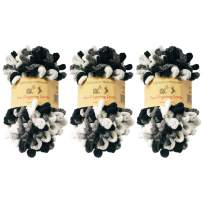 BambooMN Finger Knitting Yarn - Fun Finger Loops Yarn - 100% Polyester - Hera - 3 Skeins