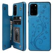 Galaxy S20 Plus Wallet Case, Case with Card Holder Embossed Butterfly Premium PU Leather Double Magnetic Buttons Flip Shockproof Protective Cover for Galaxy S20 Plus, Blue