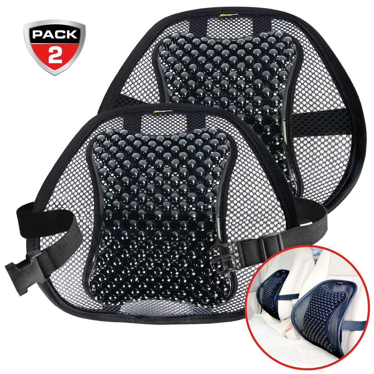MAXXPRIME Car Lumbar Support, 2 Pack Mesh Lower Back Support Cushion with Wooden Beads for Car, Home and Office Chair, Double-Layer Mesh, Air Flow Breathable, Curve Adjustable and Comfortable, Black