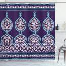 """Ambesonne Moroccan Shower Curtain, Bohemian Style Middle Eastern Turkish Mystical Image Print, Cloth Fabric Bathroom Decor Set with Hooks, 75"""" Long, Royal Blue"""
