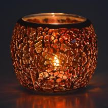 Scented Candle Holder Mosaic Glass Tea Light Holder,Handmade Romantic Glass Tealight Candle Holder for Aromatherapy,Party Décor(NO Candles),Also Used as Vase,Pen Holder,Potted Plants Bowl (Amber)