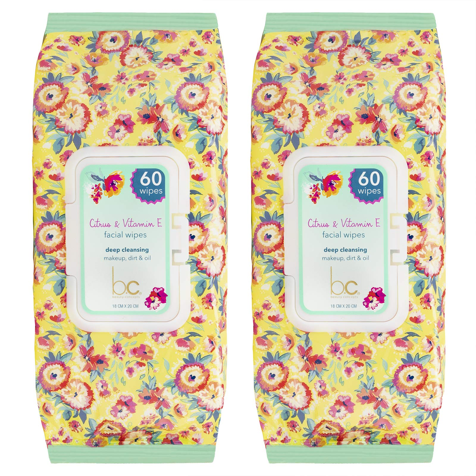 Beauty Concepts - 2 Packs (60 Count per Pack) Citrus & Vitamin E Facial Cleansing Wipes