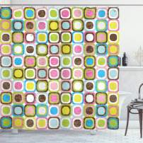"""Ambesonne Retro Shower Curtain, Abstract Grunge Background with Geometric Cubes Inner Circles Graphic Design, Cloth Fabric Bathroom Decor Set with Hooks, 75"""" Long, Chocolate Pink"""