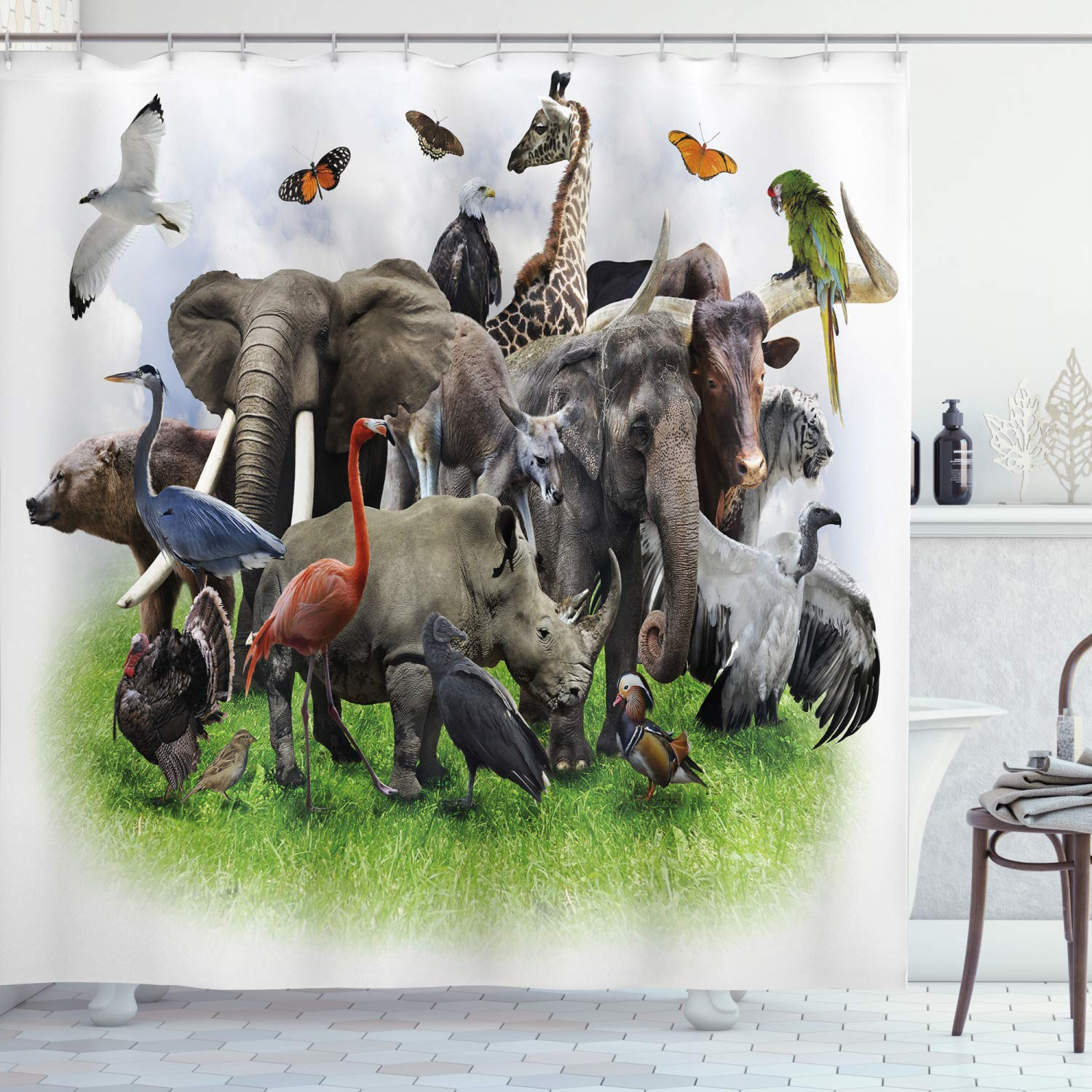 """Ambesonne Africa Shower Curtain, Digital Collage of Wild Animals with Safari Animals Zoo Theme Print Artwork, Cloth Fabric Bathroom Decor Set with Hooks, 75"""" Long, White Grey"""