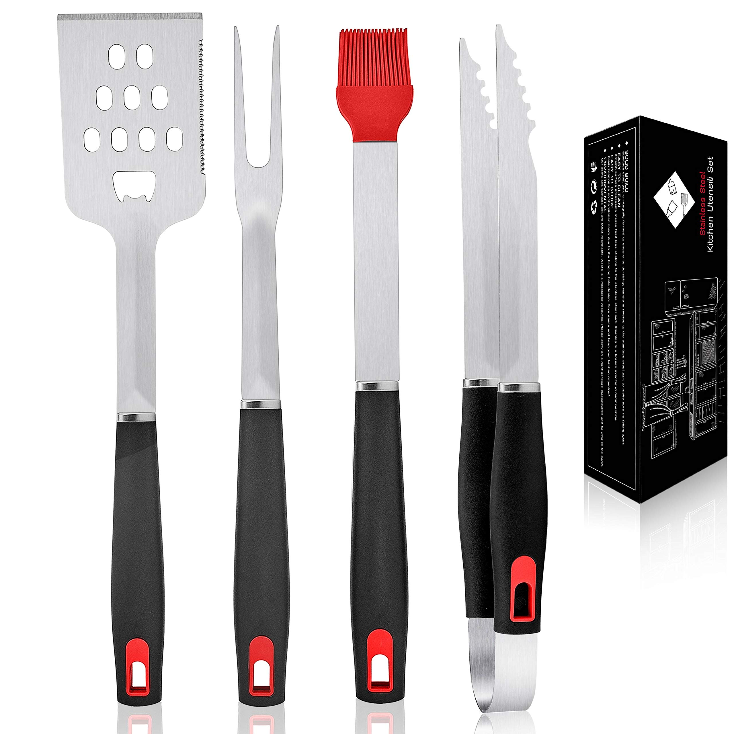 Leonyo Commercial Grade Heavy Duty Grilling BBQ Accessories Set of 4, Professional Stainless Steel BBQ Grill Tool Set for Outdoor Cooking Camping Grilling Smoking, Man Gift, Dishwasher Safe