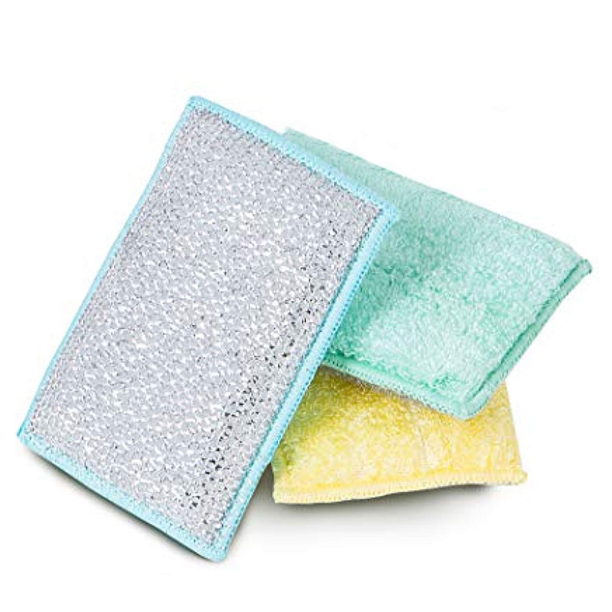Smart Design SmartCloth Scrub Sponge w/Antimicrobial Odorless Fibers - Ultra Absorbent - Soft & Metallic Scrub Side - for Cleaning, Dishes, Hard Stains - Kitchen (Heavy Duty 3 Pack) [Pastels]